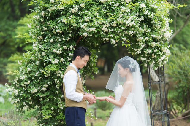 結婚式の指輪の交換を再現したポーズ