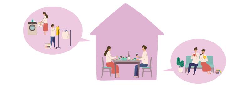 同棲をイメージできるカップルの家を中心とした画像