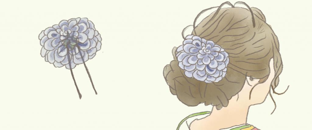 造花 髪飾り 完成図