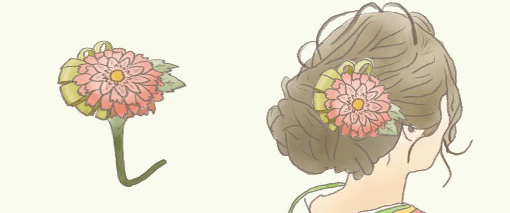 生花 髪飾り 完成図